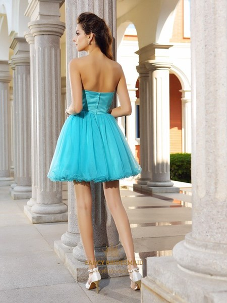 Aqua Blue Strapless Jewel Embellished Tulle Short Homecoming Dress