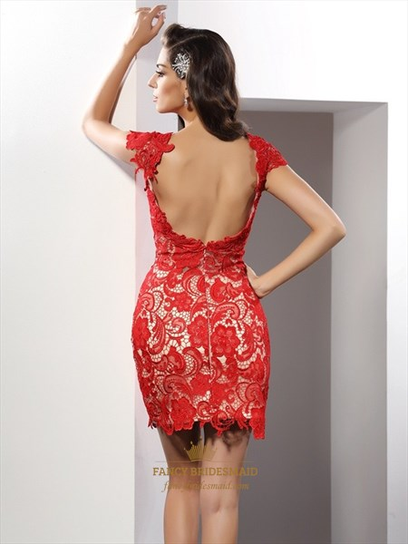 Burgundy Cap Sleeve Short Sheath Lace Cocktail Dress With Open Back