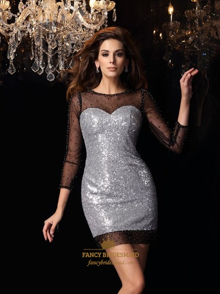 Illusion Short Bodycon Sequin Cocktail Dress With 3/4 Length Sleeves