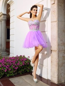 Lavender Strapless Corset Bodice A-Line Tulle Short Homecoming Dress