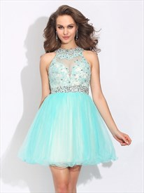 Sleeveless Beaded Lace Bodice A-Line Short Prom Dress With Open Back