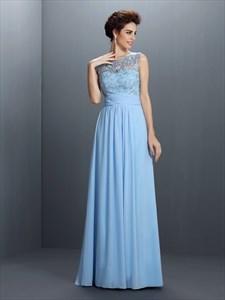 Light Blue Floor Length Sleeveless Chiffon Dress With Illusion Bodice