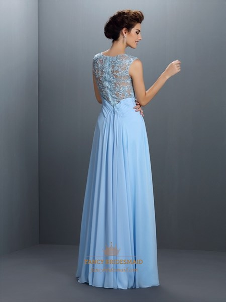 Light Blue Floor Length Sleeveless Chiffon Dress With Illusion Bodice