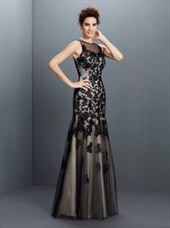Black Illusion Sleeveless Applique Tulle Drop Waist Long Prom Dress