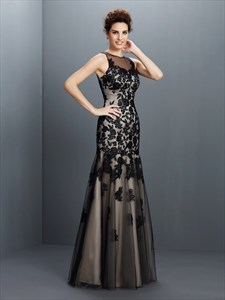 Black Illusion Sleeveless Applique Tulle Drop Waist Long Prom Dress