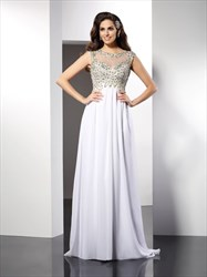 White Elegant Cap Sleeve Beaded Bodice A-Line Floor Length Prom Dress