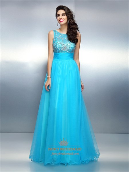 Aqua Blue Sleeveless Beaded Bodice A-Line Floor Length Evening Dress