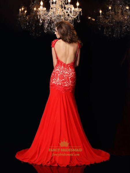 Red Cap Sleeve Backless Drop Waist Lace Chiffon Prom Dress With Split