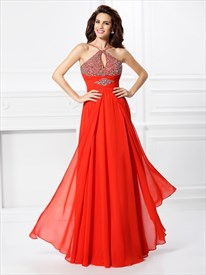 Elegant Red Spaghetti Strap Empire Waist Beaded Top Chiffon Prom Dress