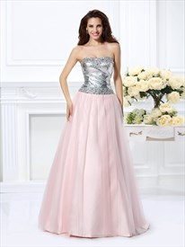 Blush Pink A-Line Strapless Long Prom Dress With Embellished Bodice