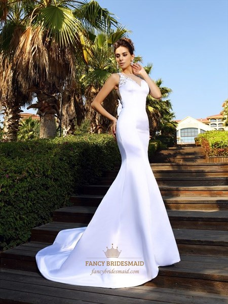Illusion White Sleeveless Embroidered Bodice Mermaid Long Prom Dress