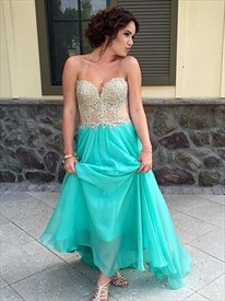 A-Line Strapless Lace Embellished Bodice Chiffon Bottom Long Prom Gown