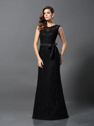 Elegant Black Cap Sleeve Open Back Lace Overlay Prom Dress With Belt