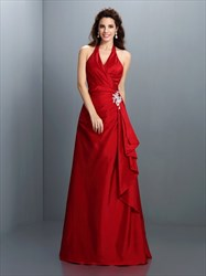 Elegant Burgundy Halter Neck Floor Length Evening Dress With Ruffles