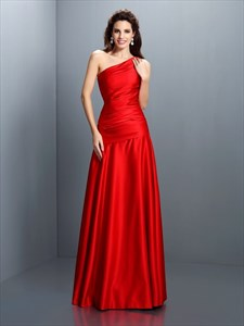 Simple Elegant Red One Shoulder Drop Waist Floor Length Evening Dress