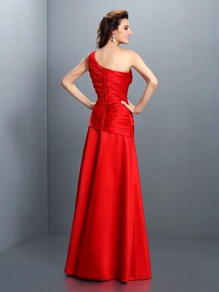 Simple Elegant Red One Shoulder Drop Waist Floor Length Evening Dress
