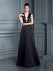 Black Sleeveless Lace Bodice A-Line Long Prom Dress With Keyhole Back