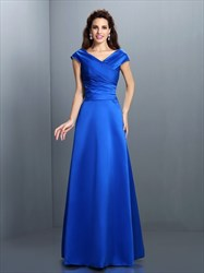 Elegant Royal Blue Cap Sleeve V Neck Floor Length A-Line Evening Dress