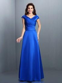 Elegant Royal Blue Cap Sleeve V Neck Floor Length A-Line Evening Dress