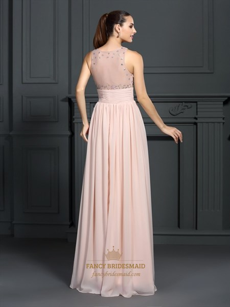 Peach Sleeveless Empire Waist Chiffon Prom Dress With Illusion Bodice