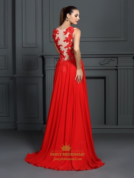 Red Sleeveless A-Line Floor Length Prom Dress With Lace Embellished