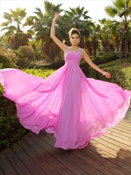 Sleeveless Fuchsia Sweetheart Chiffon Evening Dress With Illusion Back