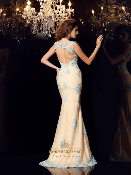 Elegant Floor Length Cap Sleeve Mermaid Prom Dress With Keyhole Back