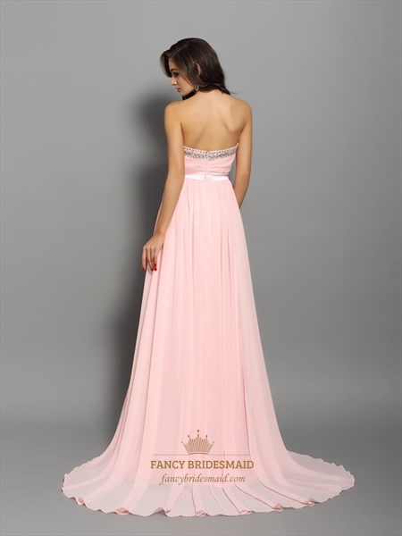 Peach Strapless Beaded Neckline Empire Waist A-Line Chiffon Prom Gown