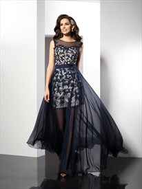 Navy Blue Illusion Lace Embellished Prom Dress With Chiffon Overlay