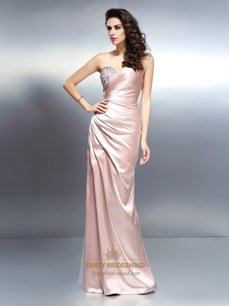 Elegant Peach Strapless Sweetheart Floor Length Beaded Evening Dress