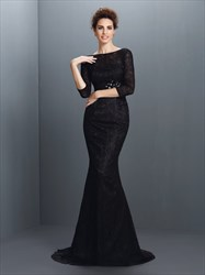 Elegant Black Lace Mermaid Long Formal Dress With 3/4 Length Sleeves