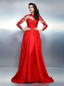 Illusion Long Sleeve Lace Embellished Formal Dress With Keyhole Back