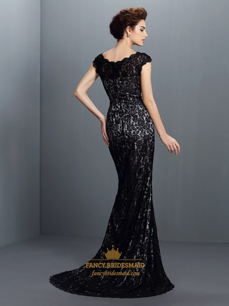 Elegant Simple Black Lace Cap Sleeve Floor Length Mermaid Prom Dress