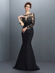 Black Illusion Long Sleeve Applique Bodice Mermaid Long Evening Dress