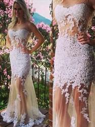 Sheer Sleeveless Applique Embellished Tulle Mermaid Long Prom Dress
