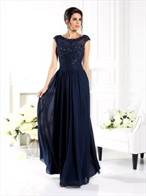 Navy Blue Cap Sleeve A-Line Long Prom Dress With Illusion Lace Bodice