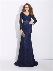 Navy Blue V Neck Lace Mermaid Long Prom Dress With Illusion Sleeves