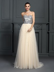 A-Line Strapless Sequin Bodice Tulle Bottom Floor Length Prom Dress