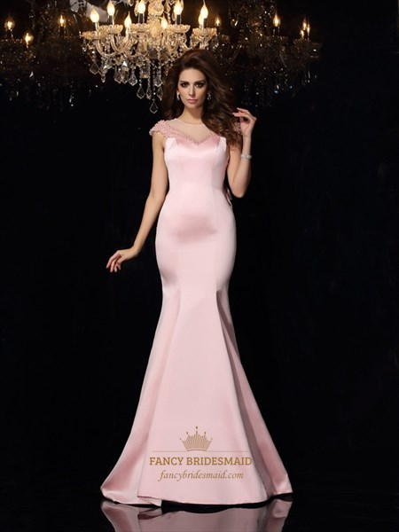 Pink Cap Sleeve Illusion Bodice Mermaid Prom Dress With Bow On Back