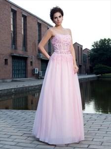 Pink Strapless Corset Bodice A-Line Chiffon Floor Length Prom Dress