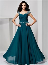 A-Line Sweetheart Beaded Cap Sleeve Floor Length Chiffon Prom Dress