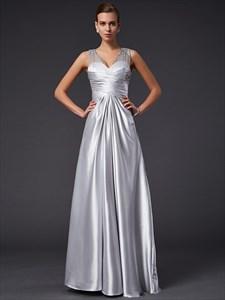 Silver Sleeveless V Neck Empire Waist Prom Dress With Illusion Back