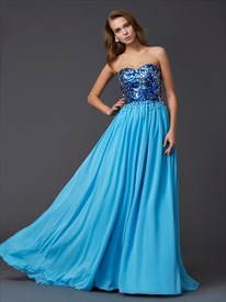 Aqua Blue Strapless A-Line Chiffon Long Prom Dress With Sequin Bodice