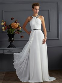 White Sleeveless Floor Length A-Line Prom Dress With Beaded Neckline