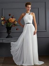 White Sleeveless Floor Length A-Line Prom Dress With Beaded Neckline
