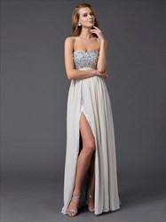 Strapless Empire Waist Beaded Top Chiffon Prom Dress With Side Split