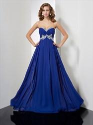 Royal Blue Strapless Sweetheart A-Line Empire Waist Long Evening Dress