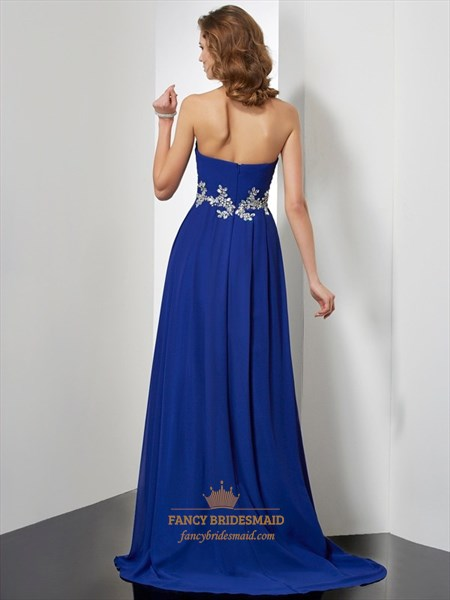 Royal Blue Strapless Sweetheart A-Line Empire Waist Long Evening Dress