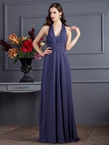 Elegant Halter V-Neck Empire Waist A-Line Evening Dress With Open Back