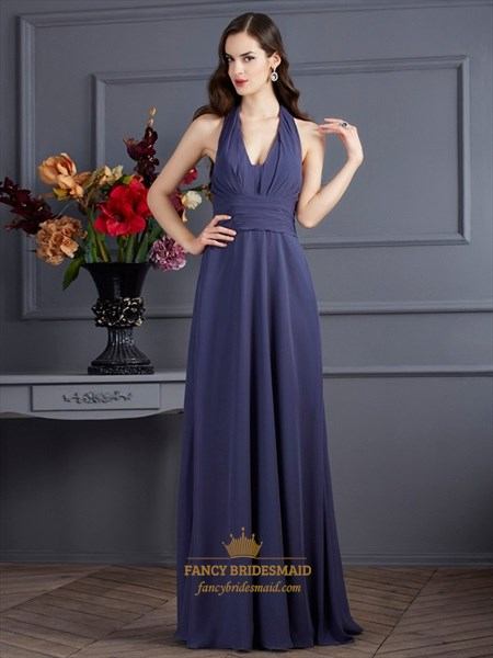 Elegant Halter V-Neck Empire Waist A-Line Evening Dress With Open Back
